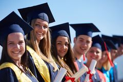 Young graduates students group royalty free stock photos