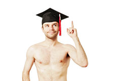 Young graduation man. Full isolated studio picture from a young graduation man Stock Photography
