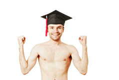 Young graduation man. Full isolated studio picture from a young graduation man Royalty Free Stock Image