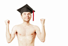 Young graduation man. Full isolated studio picture from a young graduation man Stock Photos