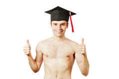 Young graduation man. Full isolated studio picture from a young graduation man Royalty Free Stock Photo