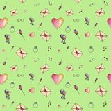 Young-green-grass cartoon valentine pattern. Cute cartoon valentine pattern with different elements about love including love letters, roses, glasses, notes on a Stock Photo