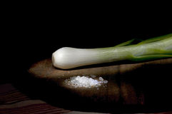 Free Young Green Onion And Salt Royalty Free Stock Images - 43812569
