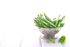 Young green peas in a metal colander. On a white background royalty free stock photos