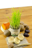Young green wheat and dried fruit isolated Royalty Free Stock Photography