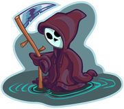 Young Grim Reaper Vector Cartoon Illustration. Vector cartoon clip art illustration of a cute little or young child version of death or the grim reaper, wearing stock illustration