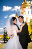 Young groom and bride portrait outdoor Stock Photography