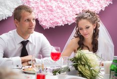 Young groom and bride Stock Images