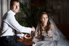 Young groom and bride Royalty Free Stock Photo
