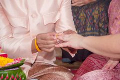 Young groom put golden ring to bride`s finger in wedding ceremon Stock Photos