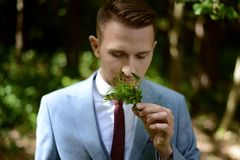 Young groom in a suit elegant Stock Images