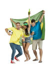 Young group of Brazil supporters with Brazil Flag and football. Group of Brazil supporters with Brazil Flag, drinks and football Royalty Free Stock Photography