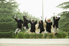 Young Group of Graduates Jumping Royalty Free Stock Photos