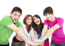 Young group with hand together Royalty Free Stock Photo