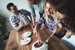 Young group of happy friends celebrating birthday Stock Photos