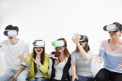Young group having fun with new technology vr Royalty Free Stock Photos