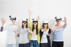 Young group having fun with new technology vr royalty free stock photography