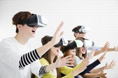 Young group having fun with new technology vr Royalty Free Stock Photo