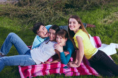 Young group laying in grass Royalty Free Stock Photography