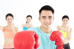 Young group people in  boxing class Royalty Free Stock Image