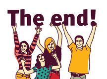 Young group people isolated and sign the end. Stock Image