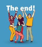 Young group people isolated and sign the end. Stock Photography