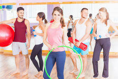 Young group people lead healthy lifestyle, exercise in fitness r Stock Photos