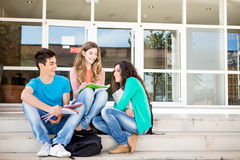 Young group of students in campus Stock Photo