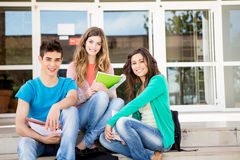 Young group of students in campus Stock Photos