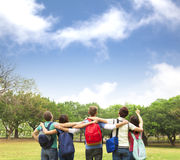 Young group of students watching the sky Stock Photography
