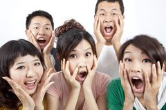 Young group and surprised Royalty Free Stock Photos