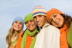 Young  group teens. Happy smiling young group of teens, youth in winter Royalty Free Stock Photos