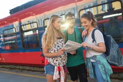Young group of travelling tourists stock photography