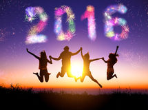 Young group watching fireworks and happy new year 2016 Stock Image