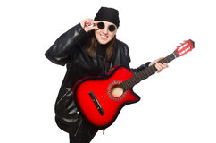 Young guitar player isolated on the white Royalty Free Stock Photos