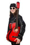 The young guitar player isolated on the white Royalty Free Stock Photos