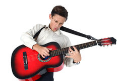 Young guitar player performing very passionately on a white back Stock Photography