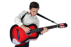 Young guitar player performing very passionately Royalty Free Stock Images