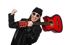 The young guitar player on the white Stock Images