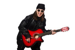 The young guitar player on the white Royalty Free Stock Image