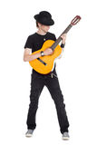 Young guitarist in hat Royalty Free Stock Image