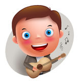 Young guitarist player vector character singing and holding guitar Royalty Free Stock Photo