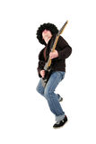 Young guitarist playing a black electrical guitar Royalty Free Stock Photos