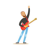 Young guitarist playing on electric guitar vector Illustration Stock Photos