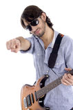 Young guitarist with pointing finger Stock Images