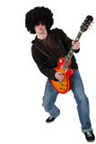 Young guitarist with a wig and sunglasses Stock Photography