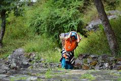 A young Gurung Sherpa woman carrying a basket in the Himalayas Stock Photography