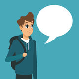 Young guy backpack with bubble speech Royalty Free Stock Photo