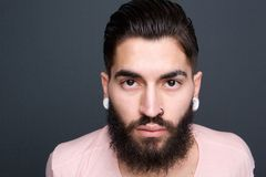 Young guy with beard and piercing Royalty Free Stock Photos