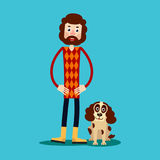 A young guy with a beard stands holding his hands on his hips, a. Nd next to him a dog sits. Illustration in flat style. Isolated Stock Image